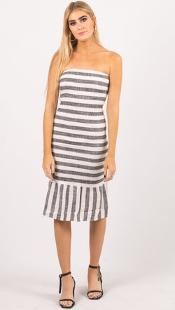 Vetiver Striped Strapless Smocked Midi Dress