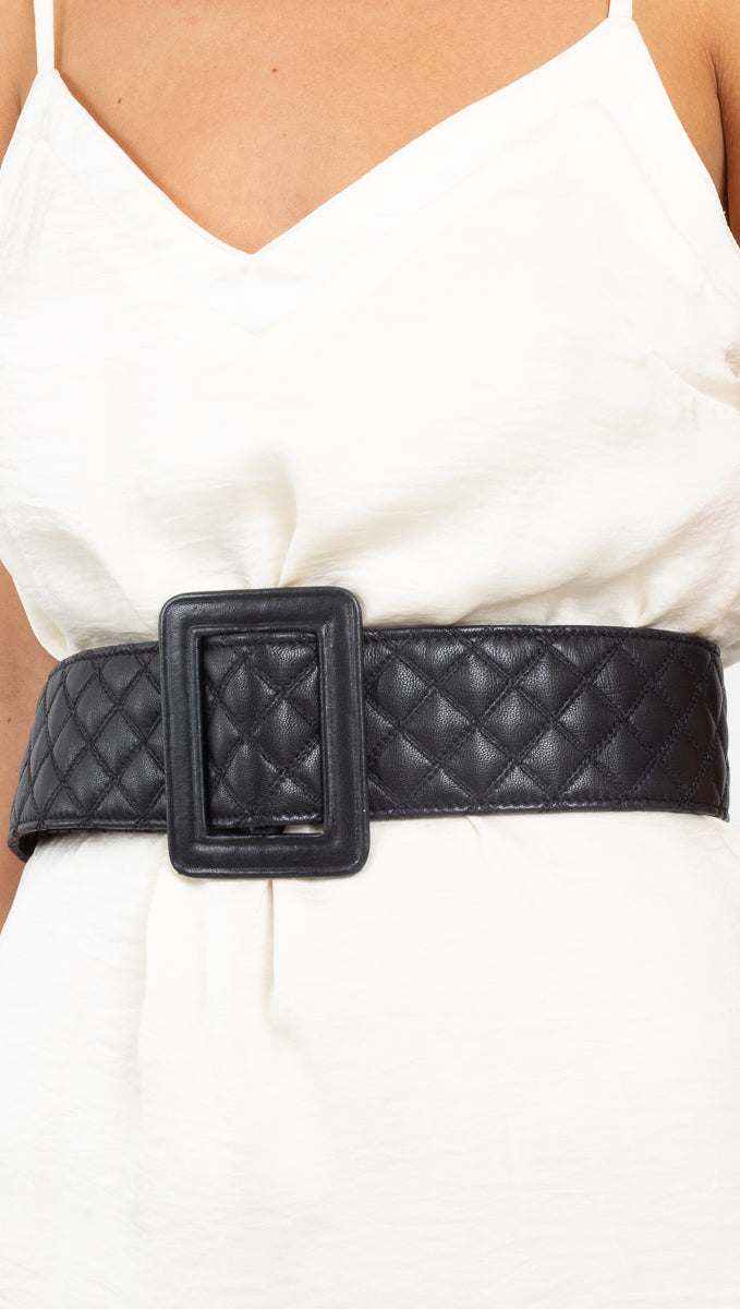 The Vintage Editor black quilted wide leather belt