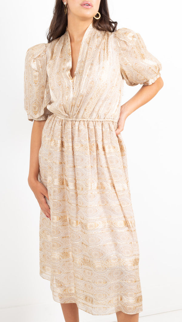 The Vintage Editor gold vneck puffed sleeve midi dress