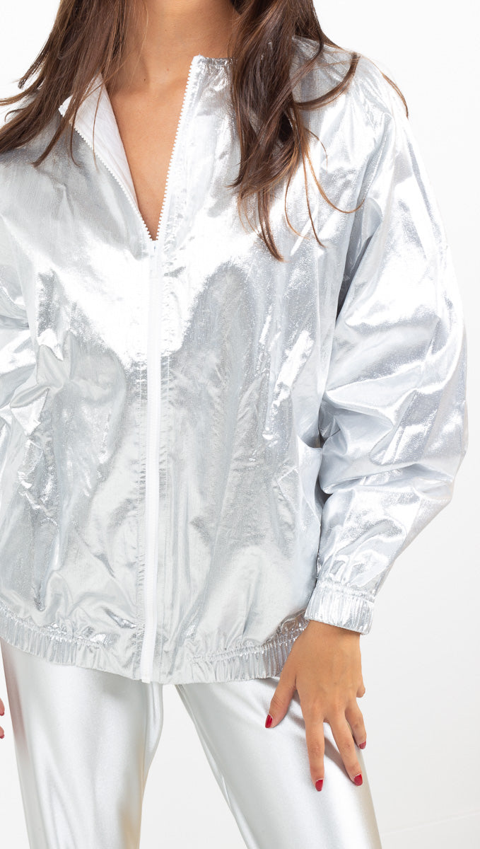 The Vintage Editor silver metallic bomber jacket