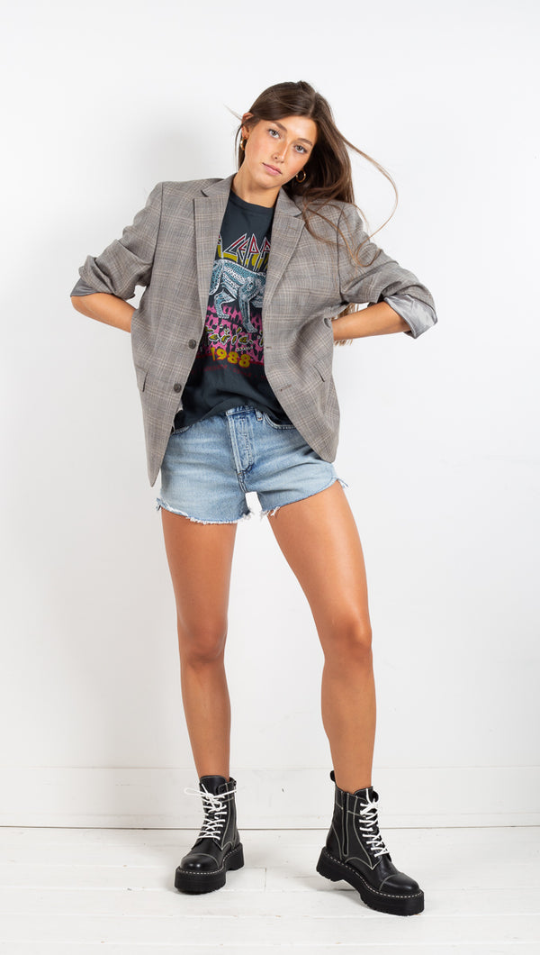 Vintage Oversized Plaid Blazer - Grey