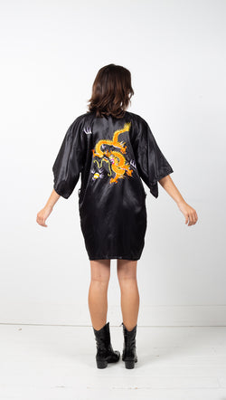 Vintage Silk Kimono - Black/Orange/Dragon 1