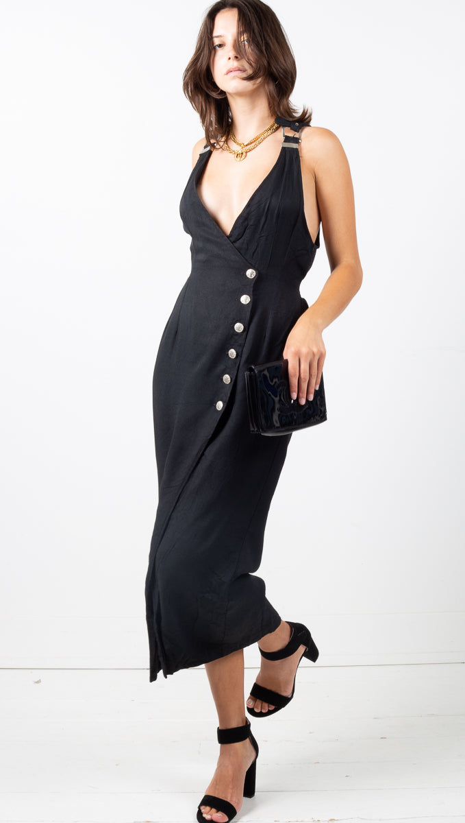 Vintage Asymmetrical Button Down Dress - Black