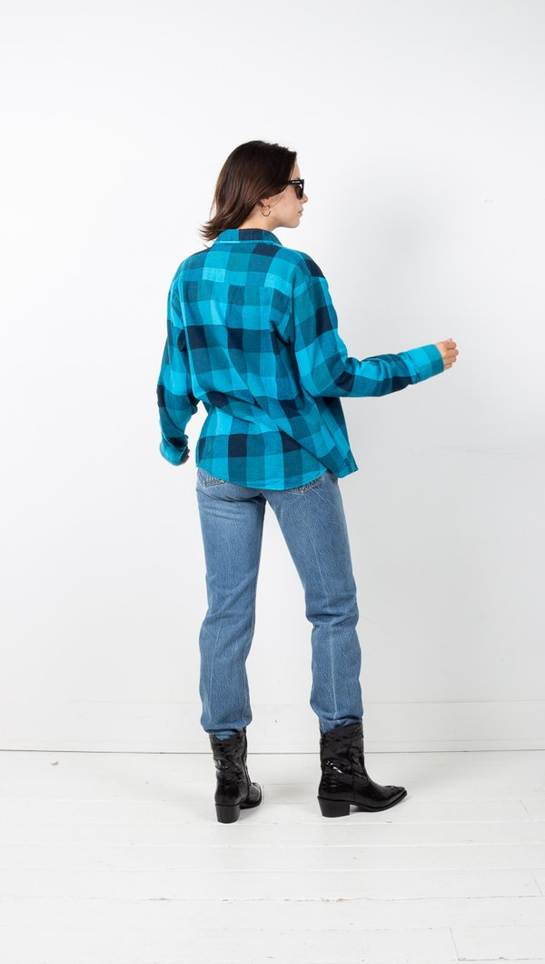 Vintage Plaid Flannel - Teal