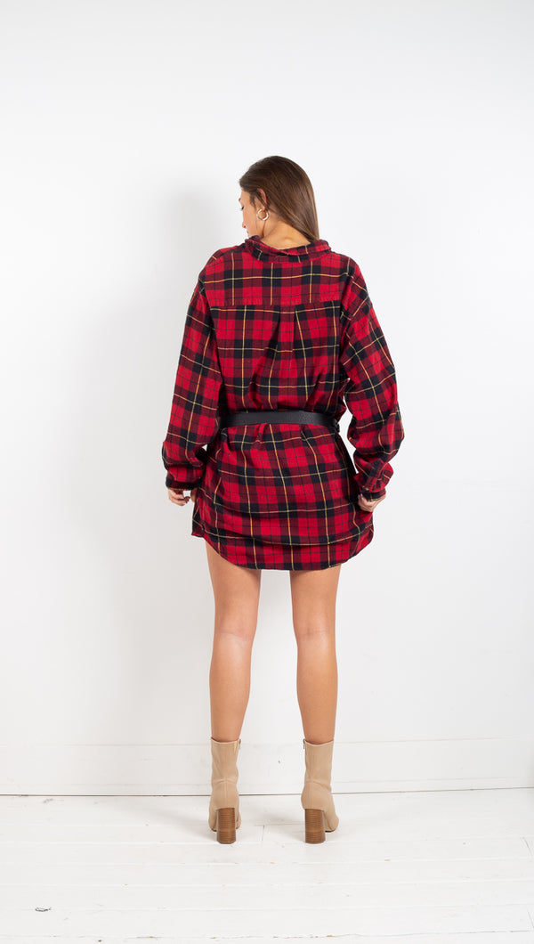 Vintage Plaid Flannel - Red
