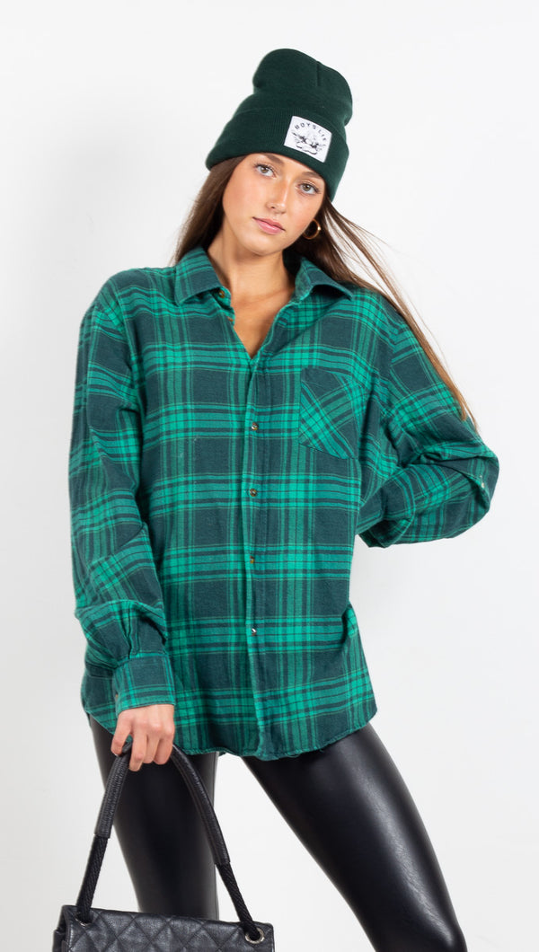 Vintage Plaid Flannel - Green