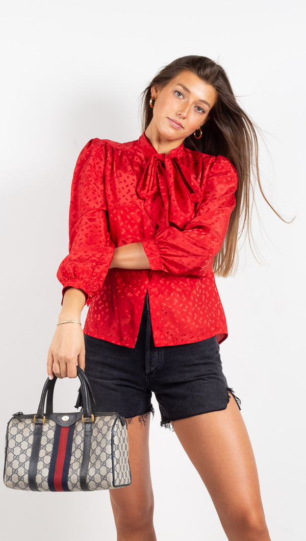 Vintage Tie Blouse - Red