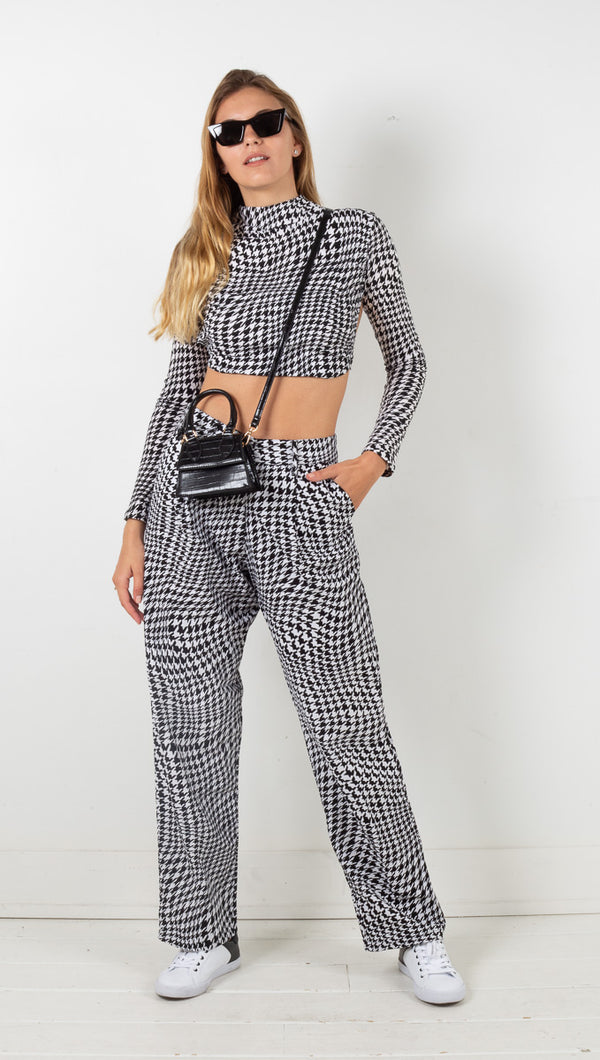 Sakila Trouser - Wavey Dogtooth