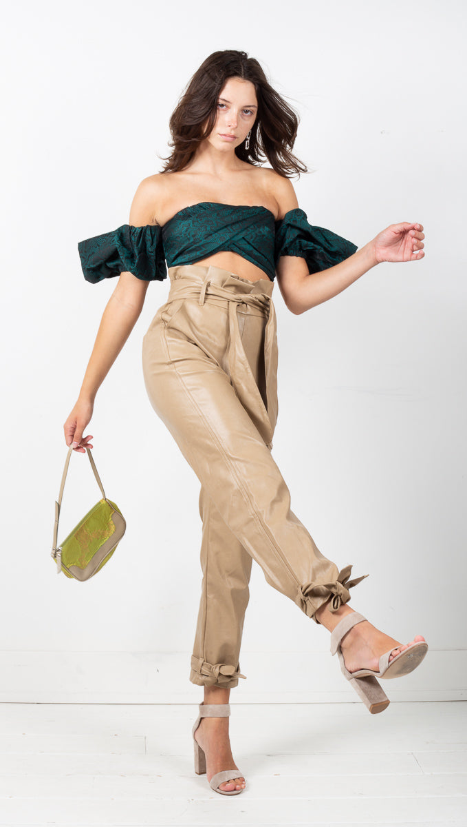 Rocco Paperbag Leather Pants - Taupe
