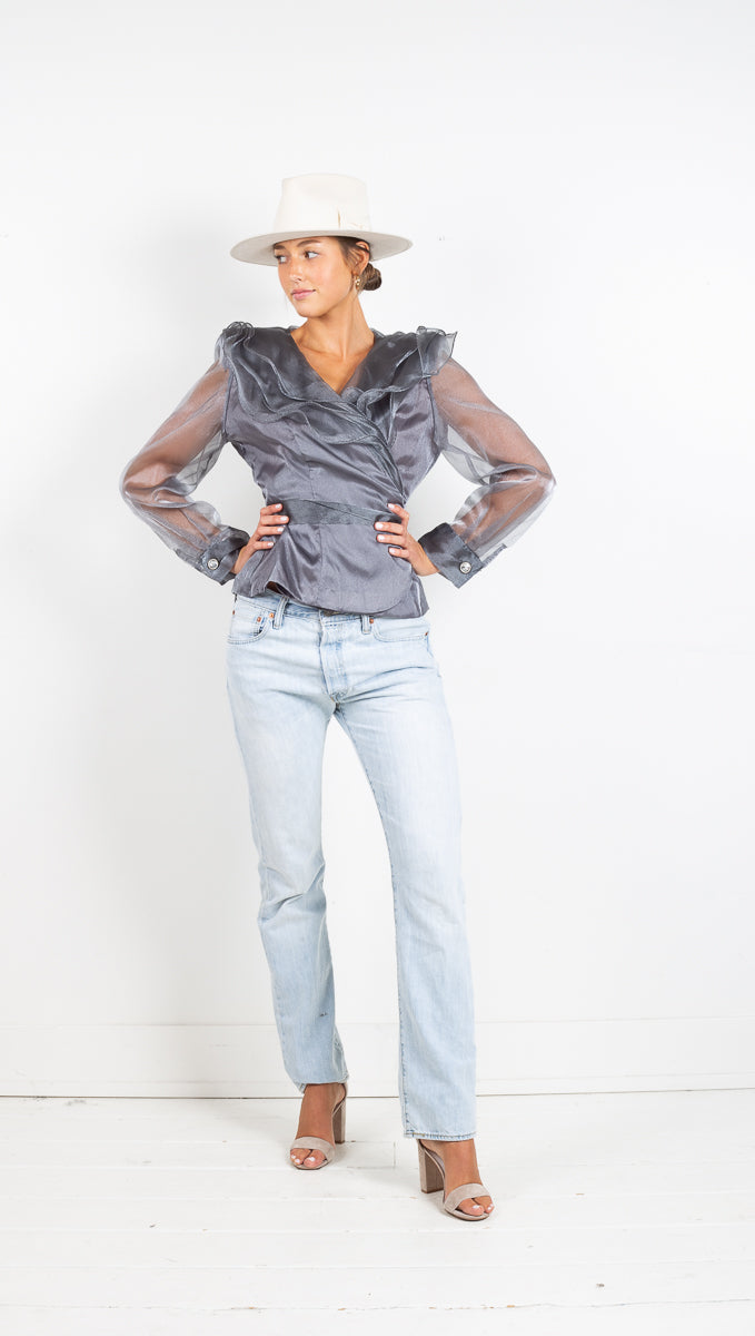 Vintage Metallic Wrap Blouse - Slate