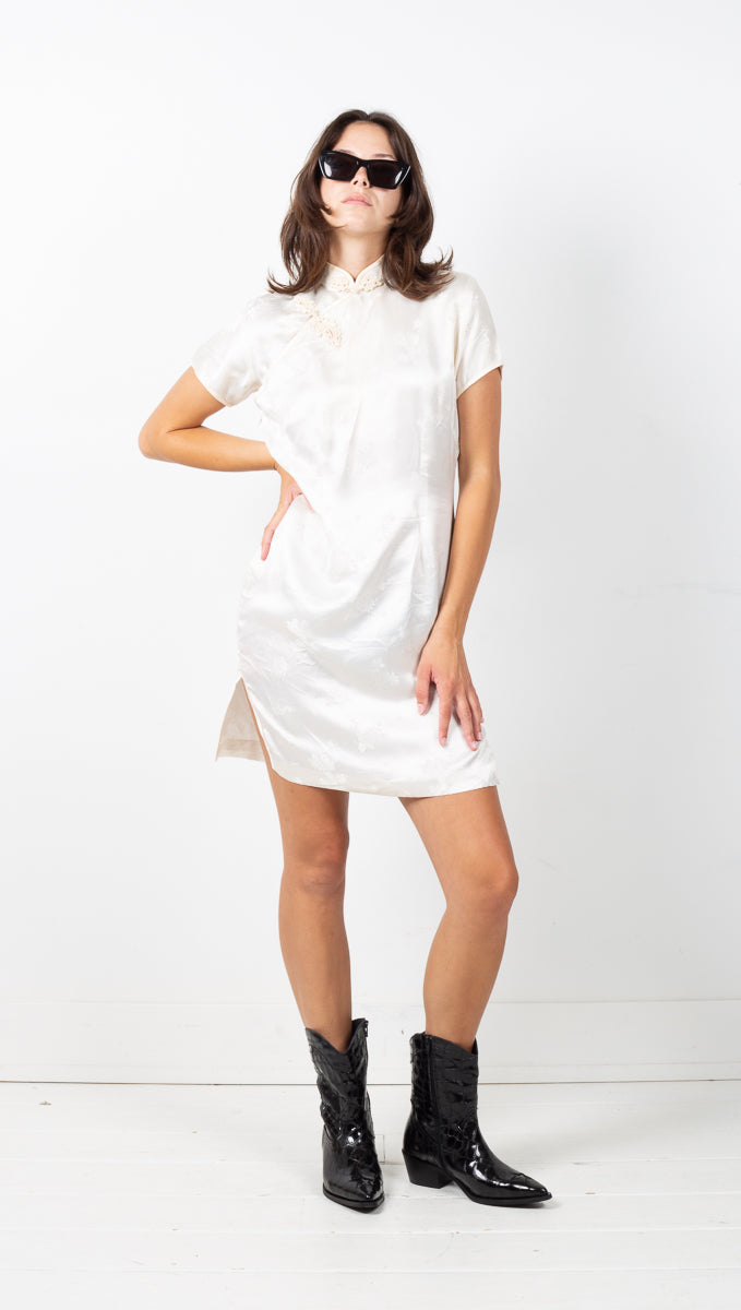 Vintage Silk Dress - Cream