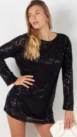 Liama Dress - Black Drape Sequin