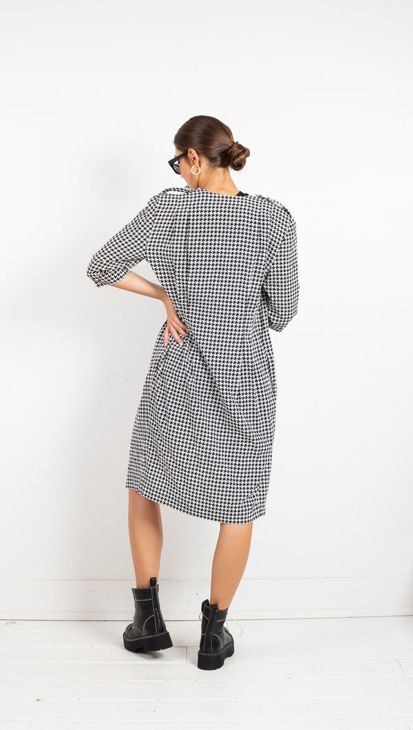 Houndstooth Soft Coat - Black/White