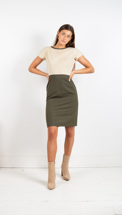 Vintage Color Block Mini Dress - Olive/Beige