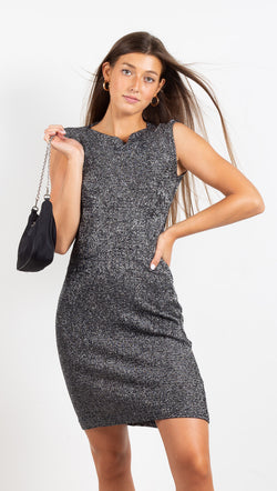 Vintage Metallic Mini Dress - Black