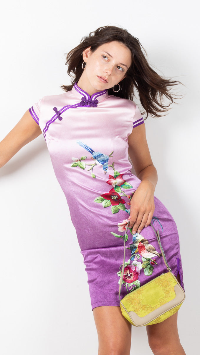 Vintage Silk Dress - Purple Ombre