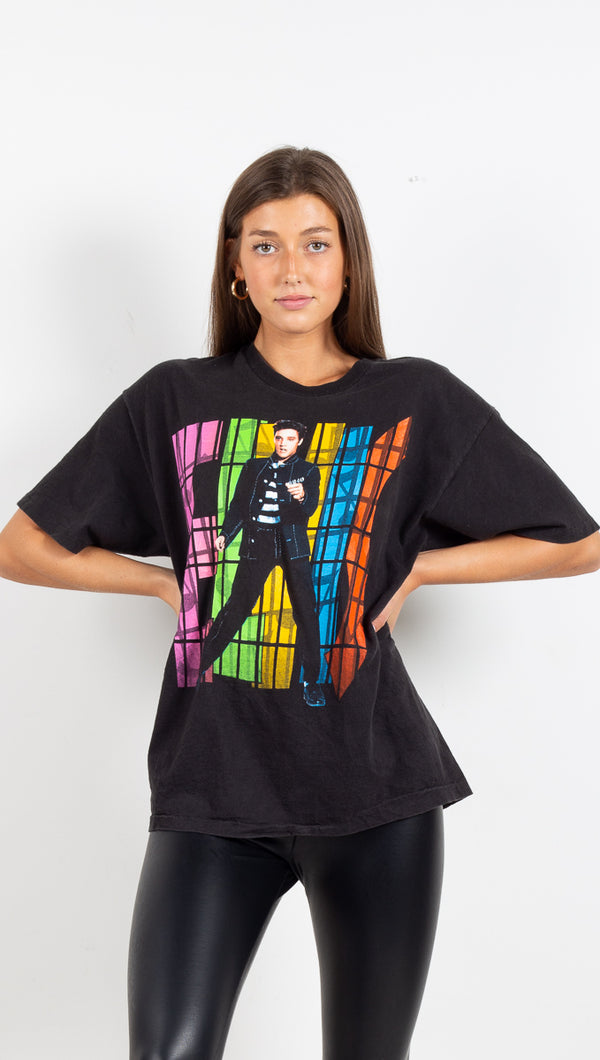 Vintage Elvis Graphic Tee - Black/Multi