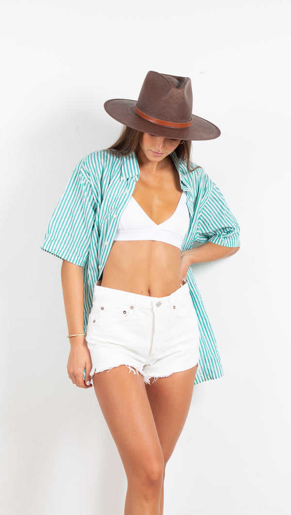 Vintage Boyfriend Button Down Shirt - Teal/White Stripe