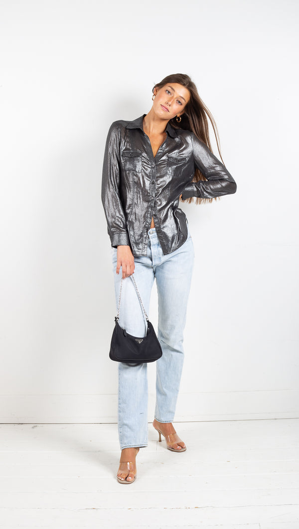 Vintage Metallic Button Down - Silver