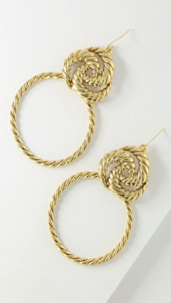 Gold Braided Knocker Earrings