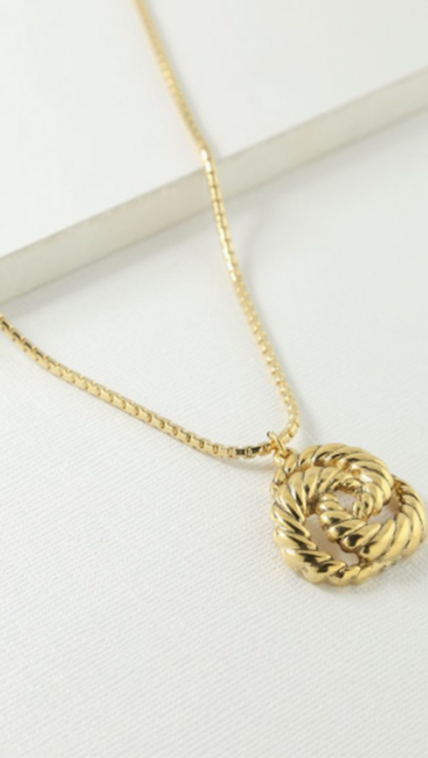 Gold Twisted Emblem Necklace