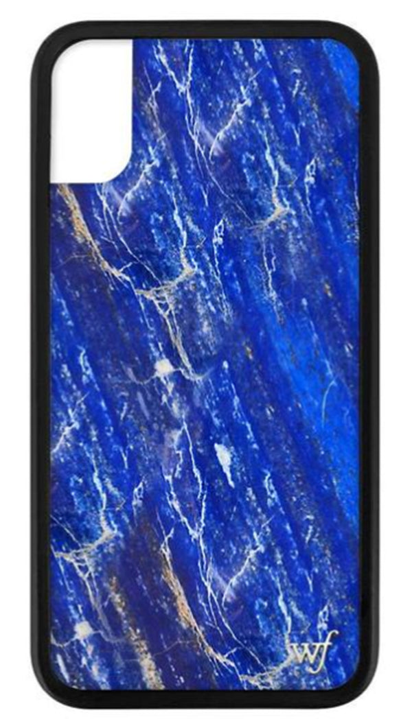 Wildflower Blue Marble Rubber Edge iPhone Case