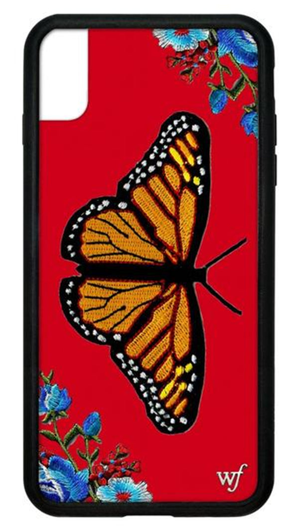 Wildflower Red Butterfly Rubber Edge iPhone Case