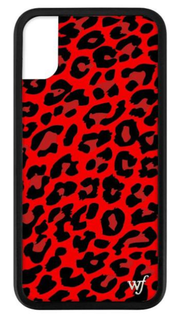 Wildflower Red Leopard Rubber Edge iPhone Case