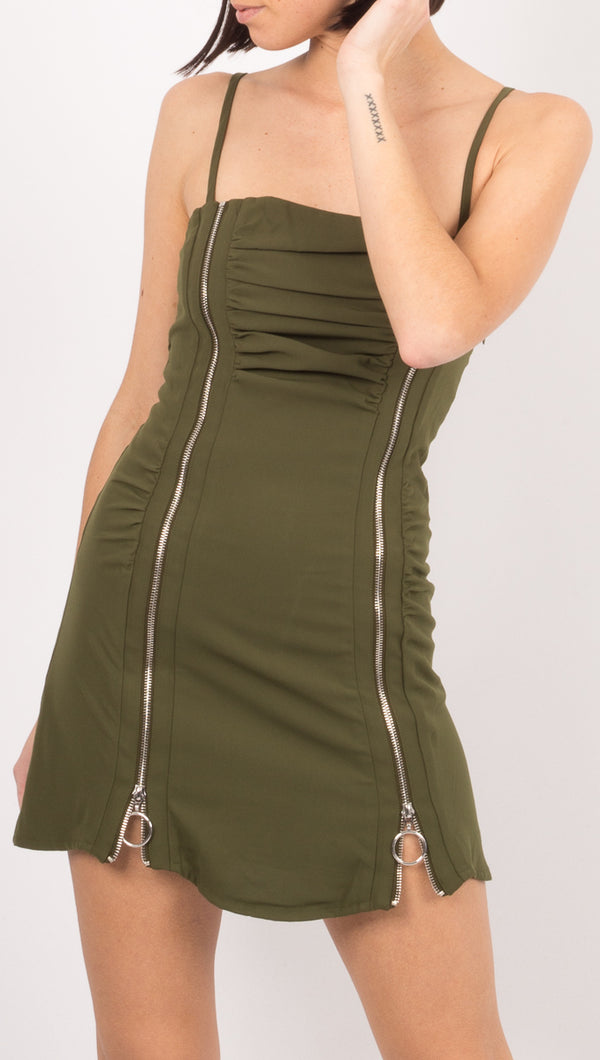 Winter Muse Olive Green Mini Dress