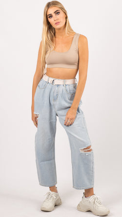 Winter Muse Distressed High Rise Baggy Jeans