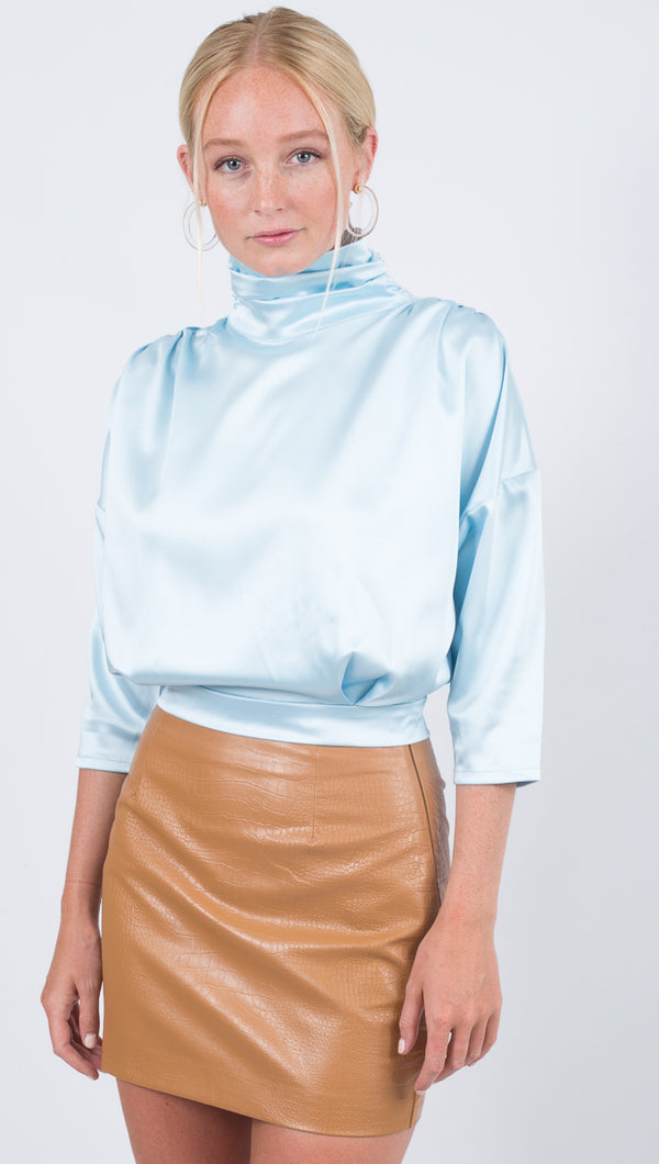 Winter Muse High Neck Light Blue Silk Top