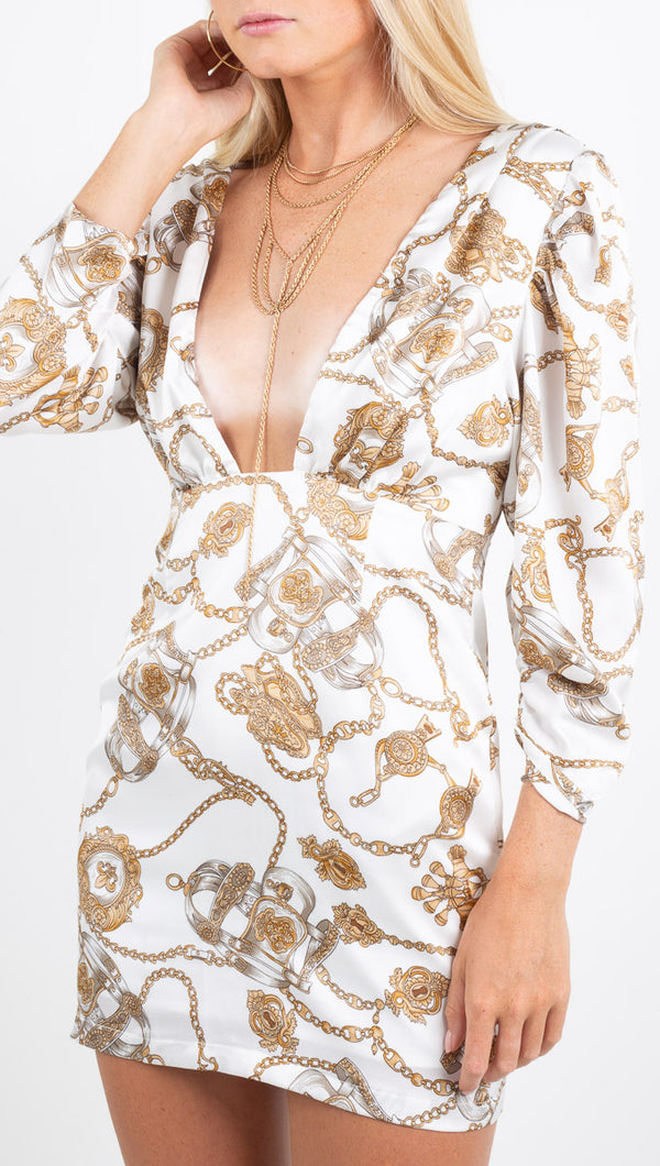 Winter Muse white/gold chain print long sleeve mini dress