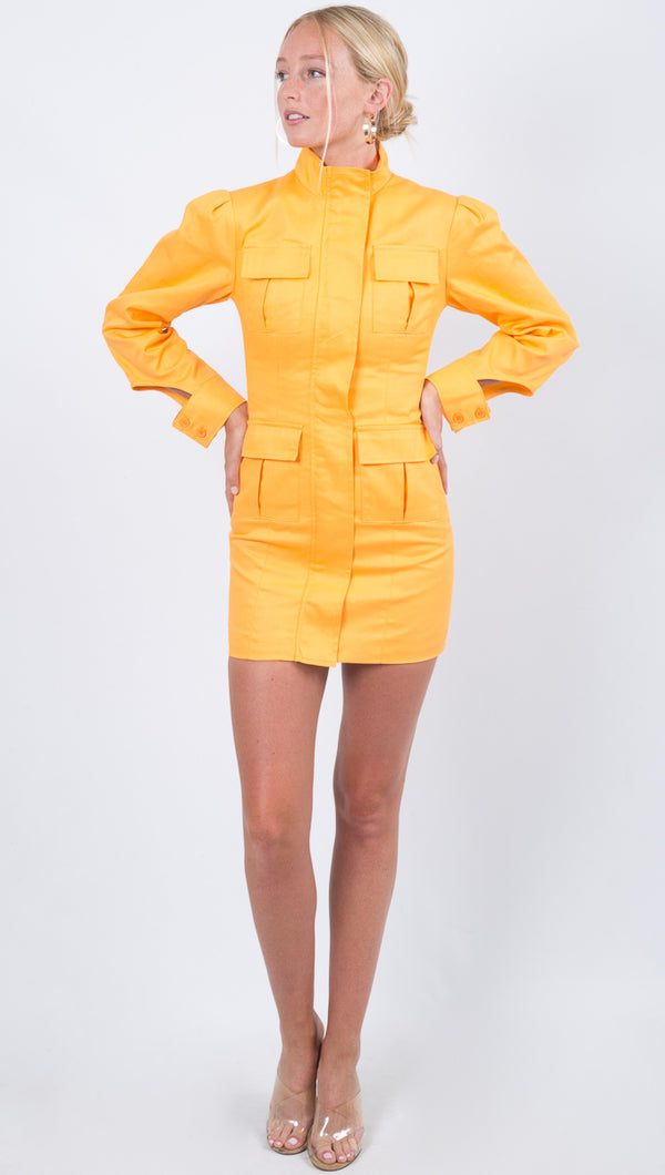 Winter Muse Yellow Pocketed Mini Dress With Long Sleeves