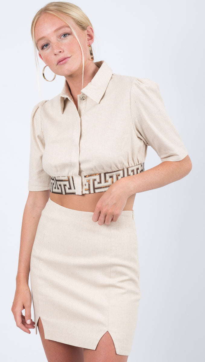 Winter Muse Cream Printed Button Down Crop Top