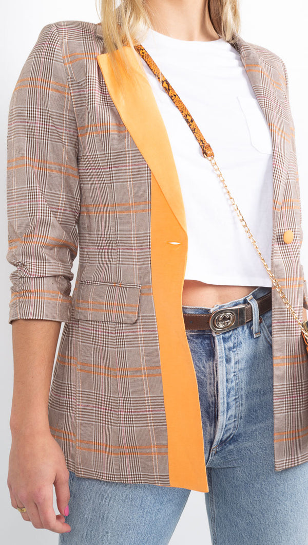 Winter Muse Plaid Orange Blazer