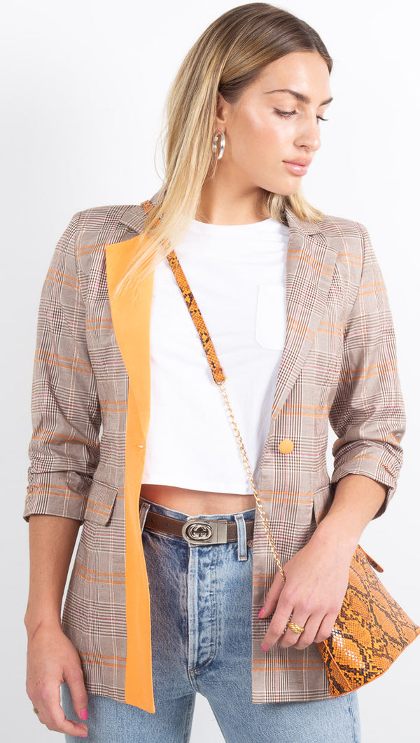 Blair Blazer - Brown/Orange Tartan