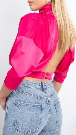 Winter Muse Hot Pink Cropped Top