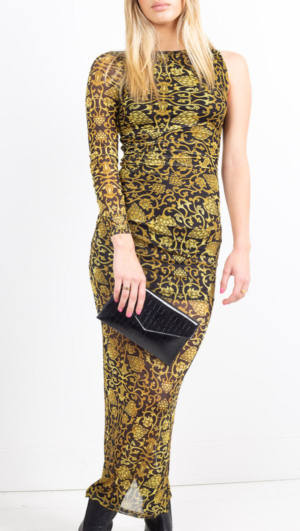 Winter Muse Black and Gold Maxi Dress