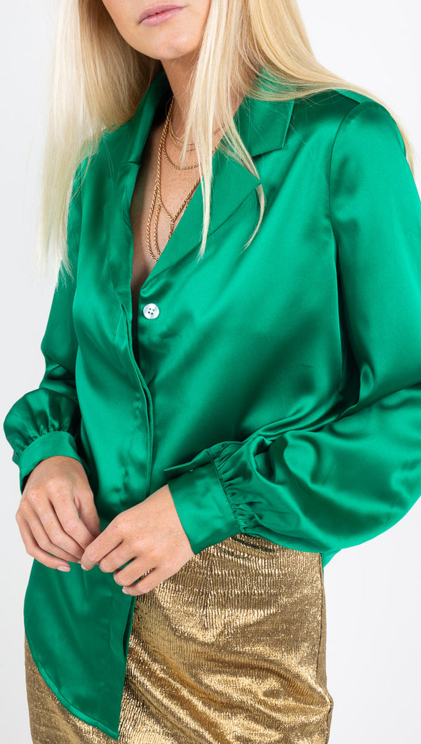 Winter Muse emerald green silky button up blouse