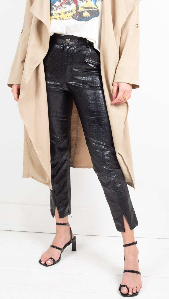 Winter Muse Black Vegan Leather Pants