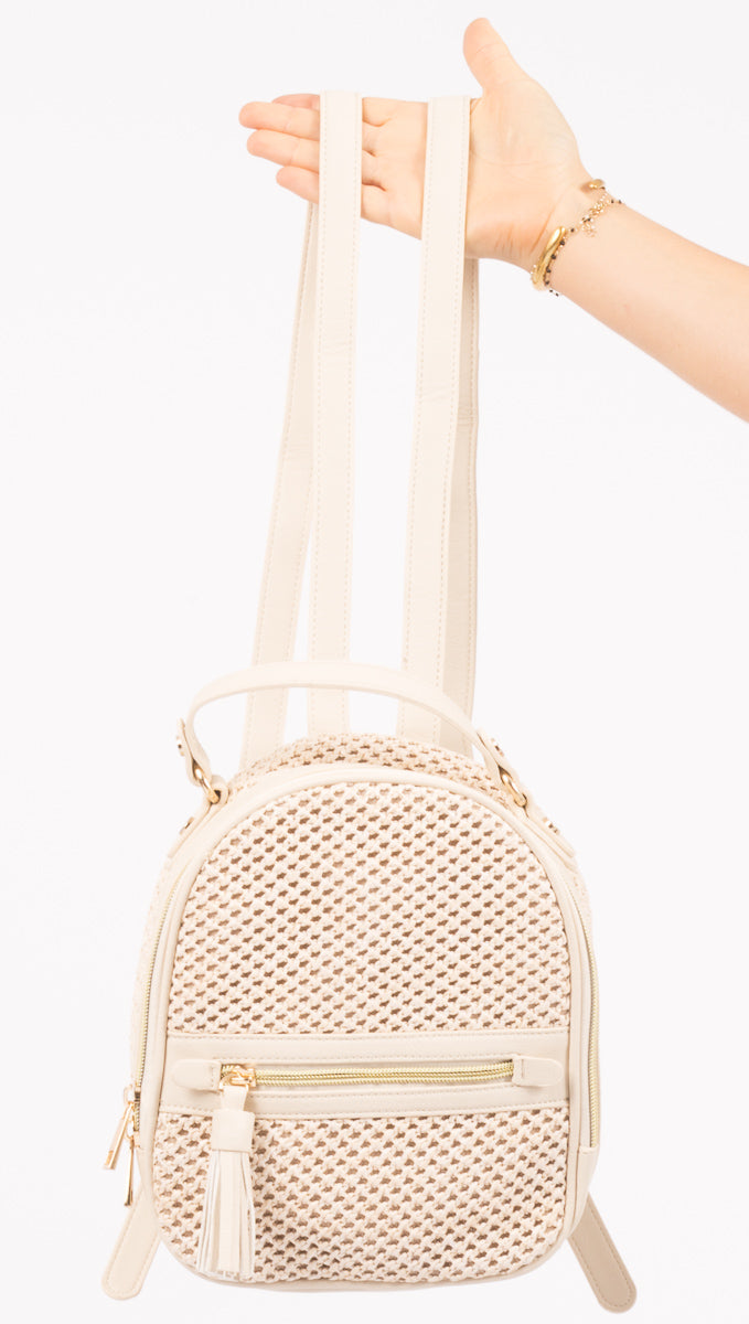 Beige Woven Faux Leather Backpack