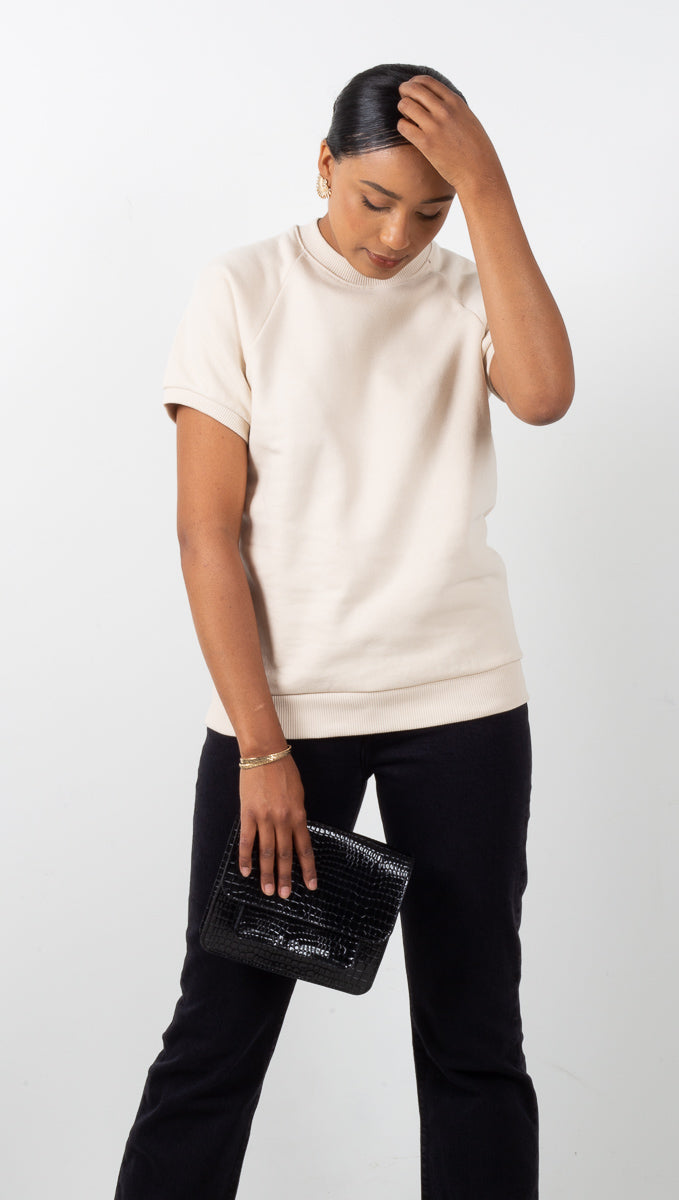 The Short Sleeve Sweatshirt - Cream