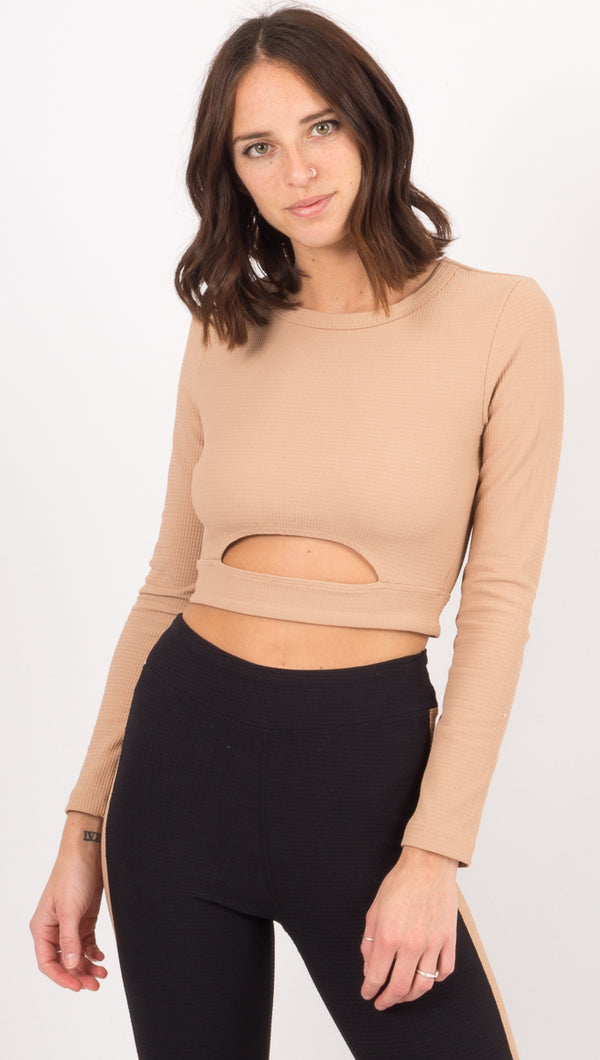 Year Of Ours Tan Long Sleeve Crop Top