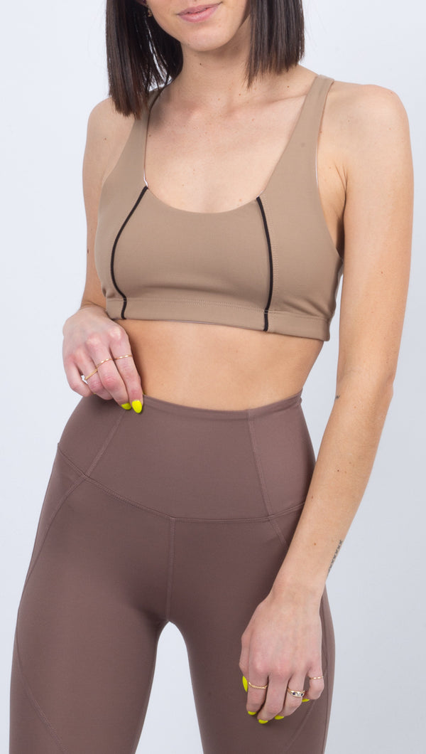 Color Blocked Basic Bra - Doe