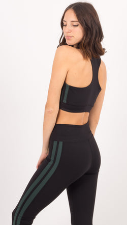 Year Of Ours Black/Green V Neck Sports Bra