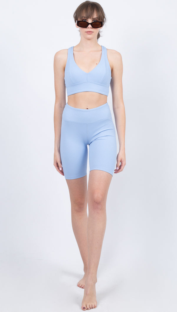 Ribbed Biker Short - Baby Blue