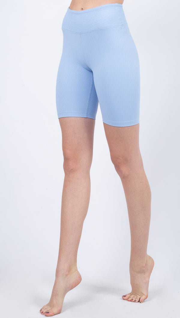 Year Of Ours Blue High Waisted Ribbed Biker Shorts