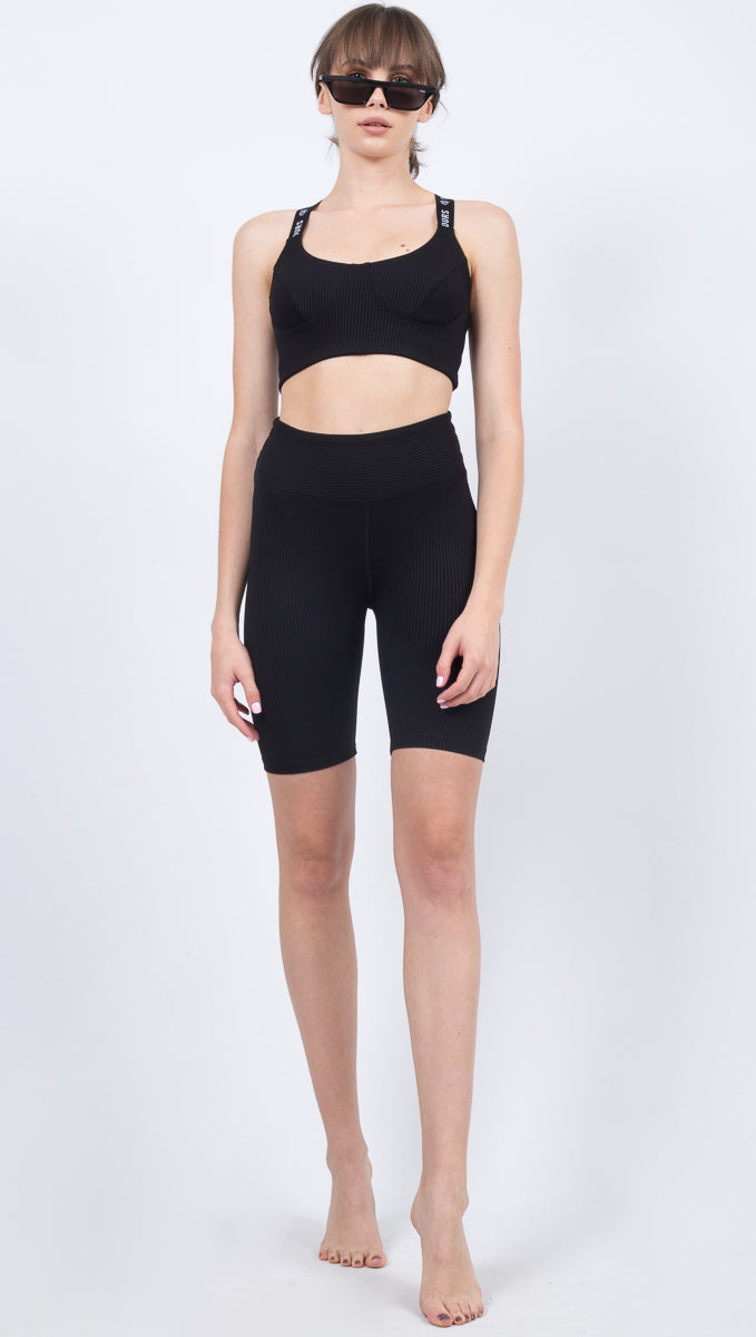 Ribbed Biker Short - Black