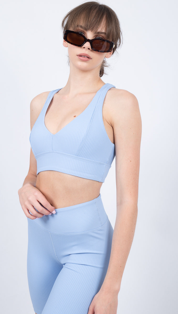 Year Of Ours Blue V-Neck Ribbed Sports Bra