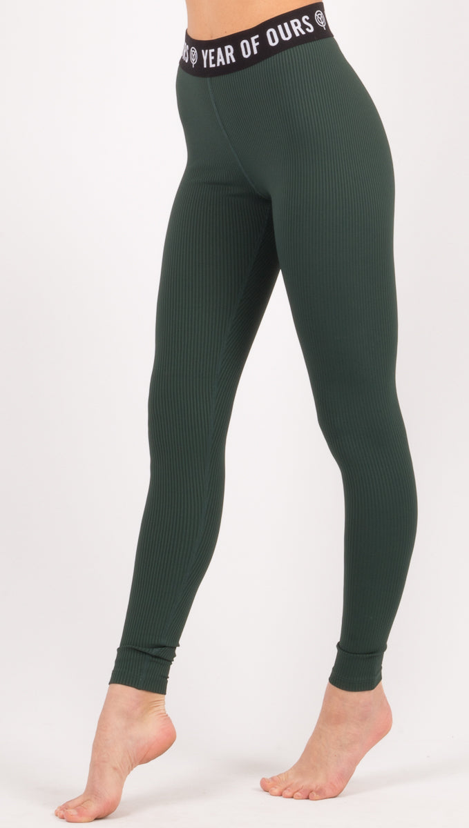 Year Of Ours Dark Green Ribbed Leggings